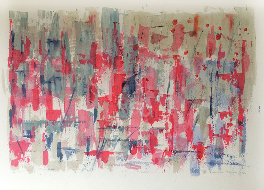 Small Steps #5 . mixed media on paper . 80 x 120 cm