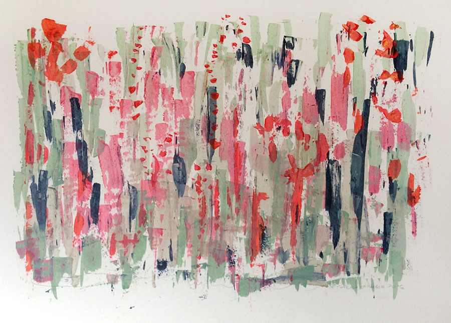 Small Steps #6 . mixed media on paper . 80 x 120 cm