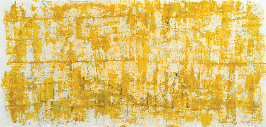Small Steps #36 . mixed media on paper . 100 x 208 cm