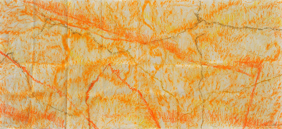 Small Steps #37 . mixed media on paper . 67 x 150 cm